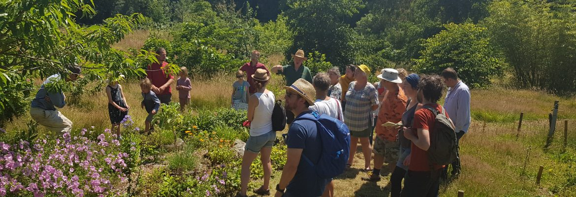Visitors on a tour of the Forest Garden